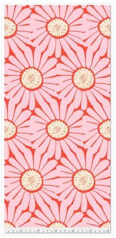 "Daisy Coral Muslin 45"" Print"