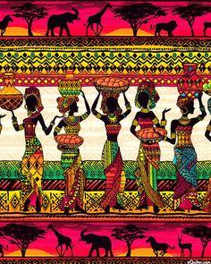 African Sunset - Walking Home Stripe - Multi