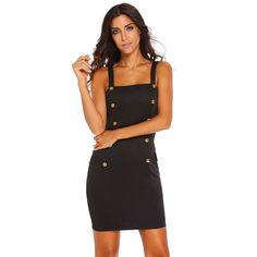Mock Pocket Mini Dress In Black LAVELIQ