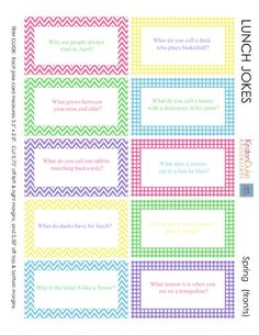 Printable Lunch Box Jokes for Spring from Kristen Duke.  Surprise your kid by sneaking one into their lunch before they go to school!