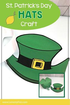 Choose a clover or a Leprechaun hat to wear for St. These print and wear hats are fun for school parties, kids and adults. Print them in full color or color your own. You choose. Parties Kids, School Parties, Craft Projects For Kids, Science Projects, Hat Crafts, Paper Crafts, Fun Printables For Kids, St Patricks Day Hat, Leprechaun Hats