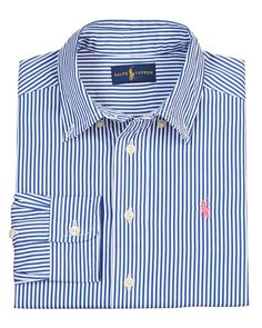 Striped Tailored Poplin Shirt, Blue/Multicolor, Size 2-7