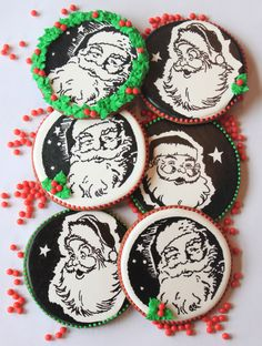 {Christmas Nosh} Santa cookies, inspired by vintage art, drawn with edible markers, by Julia M. Usher