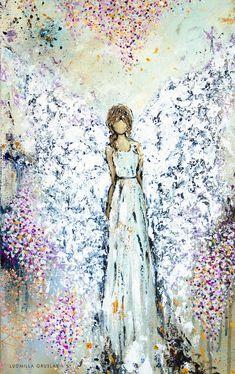 Acrylic Painting Canvas, Diy Painting, Canvas Art Prints, Fine Art Prints, Art Mural Floral, Angel Pictures, Art Paintings, Angel Paintings, Art Original
