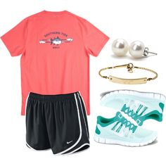 Untitled #169 by whitegirlsets on Polyvore nike tempo shorts sneakers t-shirt