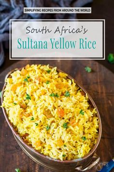 Need a side dish that complements just about any meal? This South Africa's rice gets its vibrant yellow color from turmeric and curry and its sweet note from sultanas. South African Recipes, Indian Food Recipes, South African Food, Curry Recipes, Rice Recipes, Beans Recipes, Oven Recipes, Vegetarian Recipes, African Rice Recipe