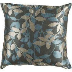 Qty 2 - Surya Peacock Green & Blue Leaf Pattern 18 x 18 Pillow w/ Down Fill, Transitional Toss Pillows, Throw Pillow Covers, Accent Pillows, Decorative Throw Pillows, Floor Pillows, Bed Pillows, Decorative Accents, Plush Pillow, Decorative Accessories