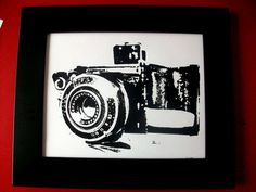 Old Fashion Camera- Black Hand Pulled Screen Print 8X10. $19.00, via Etsy.