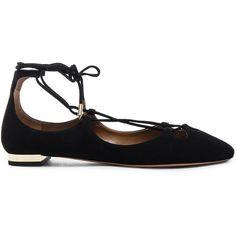 Aquazzura Dancer Suede Flats (9.736.165 IDR) ❤ liked on Polyvore featuring shoes, flats, aquazzura flats, laced up shoes, leather sole shoes, lace up shoes and flat pump shoes