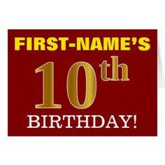 "#Red Imitation Gold ""10th BIRTHDAY"" Birthday Card - #birthday #gifts #giftideas #present #party"