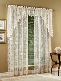 The Hopewell lace curtain panels, valances, tier curtains and balloon shde will add an elegant touch to any room in your home. Lace Shower Curtains, Cream Curtains, Lace Curtain Panels, Blackout Curtains, Drapes Curtains, Valance, Tropical Flowers, Lace Window, Window Swags