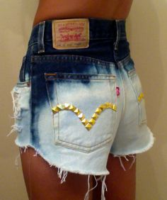 Bleached high-waisted shorts with gold studs | cute • dyed • summer • clothes • teen • fashion • style