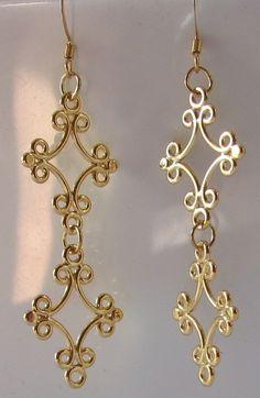 Large Gold Earrings gold filigree filigree earrings by nonie615, $9.99
