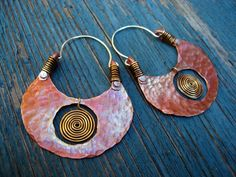 Big Pachamama Hoop Earrings Spiral Copper by SilviasCreations, $69.00