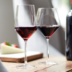 """Specifically designed to enhance light to full-bodied Pinot Noirs, Merlots, Cabernets and Zinfandels, the aptly named Pure Collection is crafted from lead-free crystal by famed German glassmakers Schott Zwiesel. With brilliant clarity and durability, the collection features a modern conical flare that helps big-flavored wines open up quickly. Plus, it's dishwasher-safe and resistant to breaking and chipping—pure genius.</br> </br> <a href=""""…"""