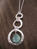 three hammered organic circle necklace w. chalcedony