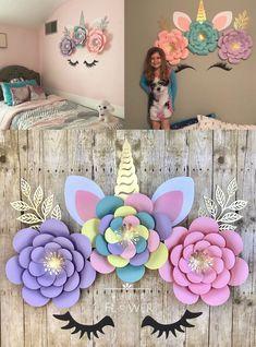 Unicorn Bedroom Decor, Unicorn Rooms, Diy Bedroom Decor, Bedroom Ideas, Girl Bedroom Designs, Girls Bedroom, Bedrooms, Unicorn Birthday Decorations, Paper Flower Arrangements
