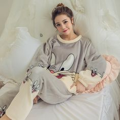 Women'S Pajamas Autumn And Winter Pajamas Set Women Long Sleeve Sleepwear Flannel Warm Lovely Tops + Pants Sleep Pyjama Female - women pajamas Pajamas For Teens, Cute Pajamas, Flannel Pajamas, Pajamas Women, Sleepwear Women, Ladies Nightwear, Satin Pyjama Set, Pajama Set, Sewing Projects
