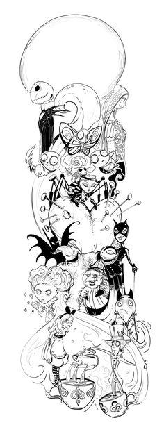 Burtontat by jdeangelis Tim Burton love! I would add some Estilo Tim Burton, Tim Burton Art, Tim Burton Sketches, Tim Burton Drawings, Trendy Tattoos, New Tattoos, Body Art Tattoos, Tatoos, Tattoo Sketches