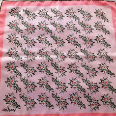 "Vintage Vera Neumann Lady Bug 22"" Square Scarf Pink Green Wildflowers Signed #VeraNeumann #Scarve #Everyday"