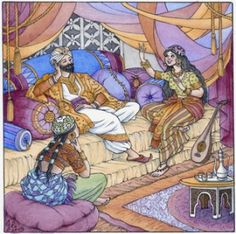 A Thousand & One Nights. Scheherazade has to amuse the caliph with a different story every night or lose her head. Dusk Sky, Night Illustration, Astrology And Horoscopes, One Thousand, Arabian Nights, New Moon, First Night, Art Google, Vintage Prints