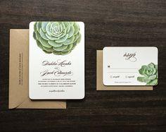 Succulent Wedding Invitation by oakandorchid on Etsy, $9.00