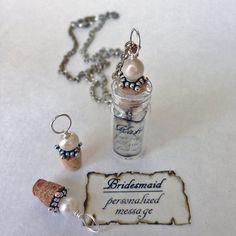 Personalizados regalos de Dama de honor / mensaje en un collar
