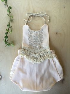 Boho Baby Romper Play Suit blush cotton and by AllyandAnnie