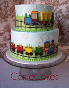 All aboard the Train Birthday express with this amazing cake. Vintage train party food and cake inspiration to compliment to the Bee Box Parties Train Collection. Baby Cakes, Cupcake Cakes, Cupcake Party, Cake Fondant, Cupcake Ideas, Rodjendanske Torte, First Birthday Cakes, Train Birthday Cakes, Birthday Boys