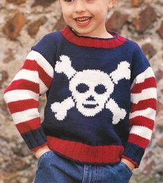 Pirate Skull Crossbones Jumper 6mths 6 yrs DK Cotton Knitting Pattern   eBay