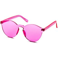 Pink Clear One Piece Retro Style Sunglasses (245 MXN) ❤ liked on Polyvore featuring accessories, eyewear, sunglasses, pink, retro glasses, pink sunglasses, retro clear glasses, clear glasses and beach sunglasses