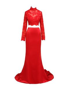 LovingDress Women's Prom Dresses Spandex&Tulle Two Pieces Mermaid Evening Dress Size 0 US Red
