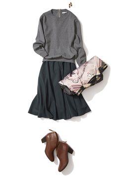 秋はモスグリーンスカートでオシャレに幅を!大人丈スカートでキレカジコーデ ― B