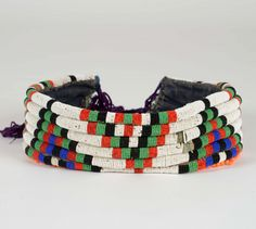 Africa | Bridal belt from the North Nguni (Zulu) people of South Africa | Fabric and glass beads