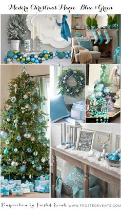 A Magical Modern Christmas in Blue and Green via Frosted Events www.frostedevents.com  Turquoise ornaments, lush greenery, sparkling metallic blues and aquas on the mantel, a tree trimmed in pretty tiffany blue baubles #christmas #holiday #decorate