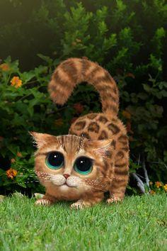 Keane a inspiré peinture yeux félins, oeuvre de chat, décor numérique, oeuvre de chat mignon, Gig inspiré grande peinture eyed, oeuvre de chaton, purrfect