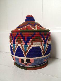 Handwoven vintage Moroccan berber basket