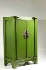 """Chinese Wooden Green Small 18"""" Medicine Cabinet/End Table/Jewelry Box Locker"""