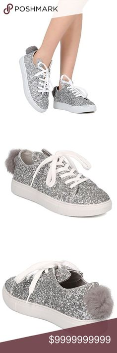 "Women's glitter sneakers These glitter encrusted sneakers are made with a round toe, lace up front and bunny ears. Also made with a furry bunny tail and rubber outsole. Heel approx 1"" Blue and black also available in my closet Shoes Sneakers"