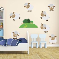 Friendly Sheep Fabric Wall Stickers Decals - Removable and Repositionable - Sheep Fabric, Childrens Wall Decals, Counting Sheep, Fabric Textures, All Wall, Kids Bedroom, Wall Stickers, Nursery, Glass Mirrors
