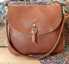 Chestnut leather messenger bag by LocknKeyLeathers on Etsy, $135.00