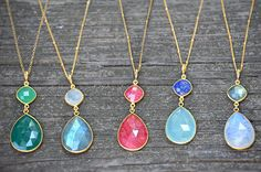 Double drop Faceted natural gemstones bezel set Necklace - available in a variety of gemstones in vermeil gold or sterling silver by DaniqueJewelry on Etsy https://www.etsy.com/listing/199220274/double-drop-faceted-natural-gemstones