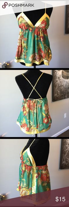 """Sexy Summer Crisscross Back Top NWOT ⭐️  Never worn. Super flirty summer top. Trimmed and lined in a warm yellow. Overlay is a sheer print of green, dark orange, light tan, light green, brown, purple. Would look sweet with white shorts or jeans. 20"""" from shoulder to hem. Forever 21 Tops"""