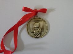 Gold Basketball Christmas Ornament Medal with Ribbon by GiftWorks. Click NOW for FREE SHIPPING with the purchase of $8.95. Only one left!