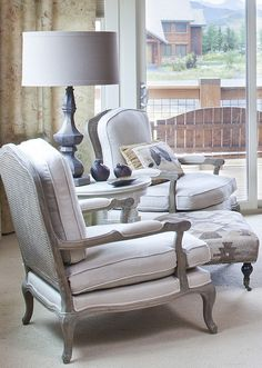 High Quality Soft Grey And White Bergere Chairs