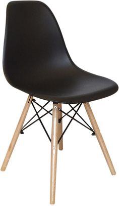 Chaise déco scandinave 'Helsinki' 46.5x53x81.5cm  - En bois, métal et PP - Coloris : Noir