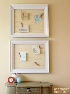 Open Frame & Wire Memo Board http://roadkillrescue.net/2012/08/open-frame-and-wire-memo-board/#
