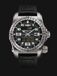 Emergency watch by Breitling - built in dual-frequency Personal Location Beacon, stainless steel case with black strap, black dial