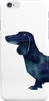 Dachshund Dog Black Watercolor Silhouette by TriPodDogDesign