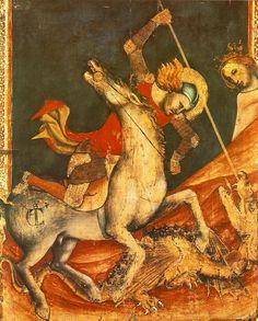 Vitale da Bologna - St George 's Battle with the Dragon, around 1350 Tempera on wood, 80 x 70 cm Pinacoteca Nazionale, Bologna George & Dragon, Saint George And The Dragon, Patron Saint Of England, Renaissance, Saint Georges, Medieval Art, Dark Ages, Gothic Art, Custom Posters